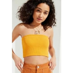 Urban Outfitters Hallie Rib Crop Yellow Tube Top